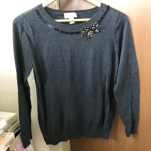 Loft fuzzy sweater with decorated neck detail